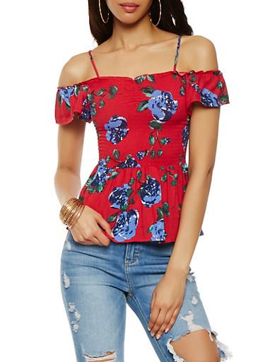 Floral Off the Shoulder Smocked Top | Tuggl