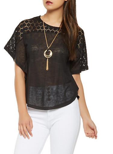 Knit Dolman Sleeve Top with Necklace,BLACK,large