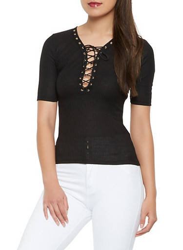 Ribbed Knit Lace Up Top,BLACK,large