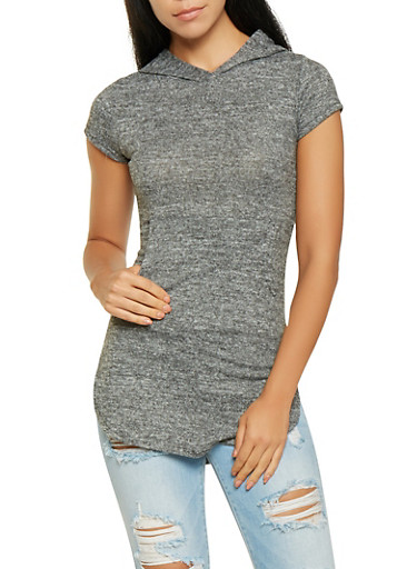 Soft Knit Hooded Tee,CHARCOAL,large