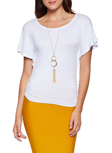 Ruched Detail Top with Necklace,WHITE,large