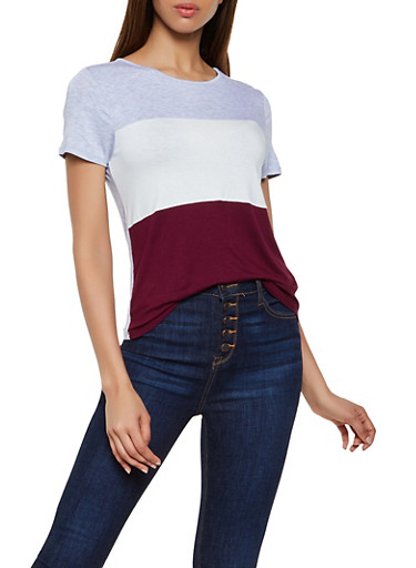 Color Block Tee,HEATHER,large
