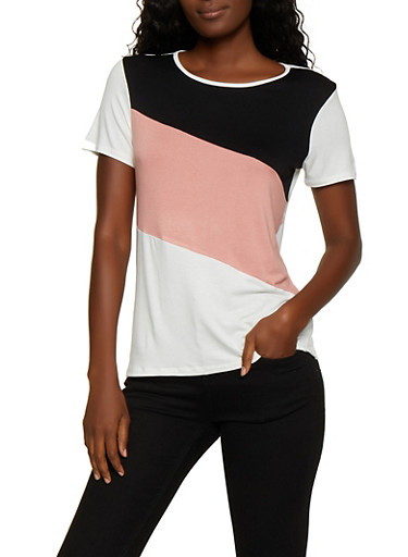 Color Blocked Tee,BLACK,large