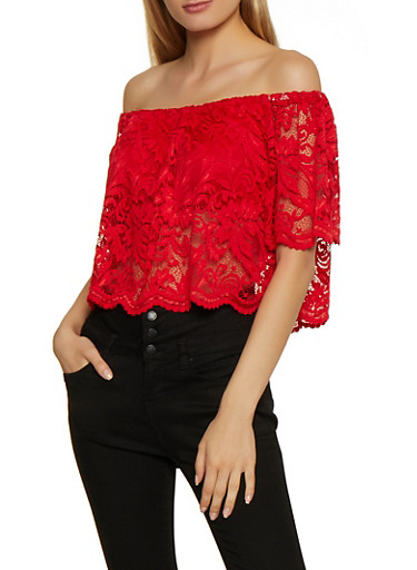 Off the Shoulder Lace Top,RED,large