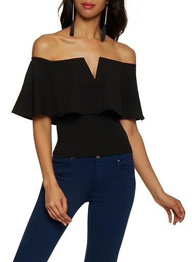 Off the Shoulder Crepe Knit Top,BLACK,large
