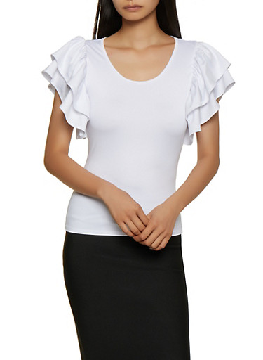 Tiered Cap Sleeve Top,WHITE,large