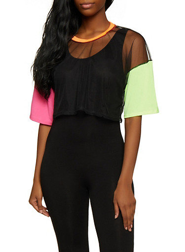 Color Block Mesh Tee,BLACK,large