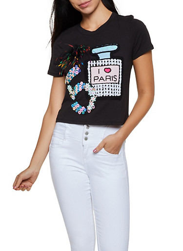 Perfume Sequin Patch Tee,BLACK,large