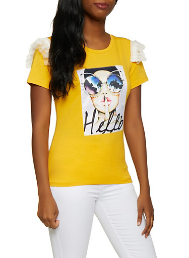 Hello Studded Patch Graphic Tee,MUSTARD,large