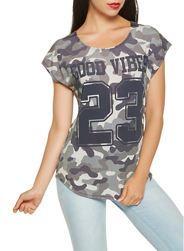 Good Vibes Camo Graphic Tee,OLIVE,large