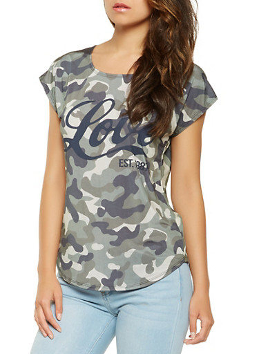 Camo Love Graphic Tee,OLIVE,large