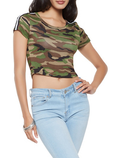 Striped Tape Detail Cropped Camo Tee,OLIVE,large