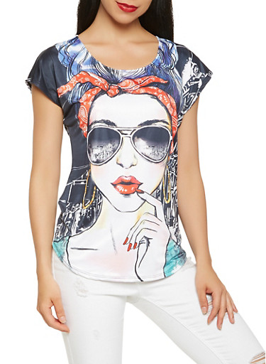 Face Graphic Tee,MULTI COLOR,large