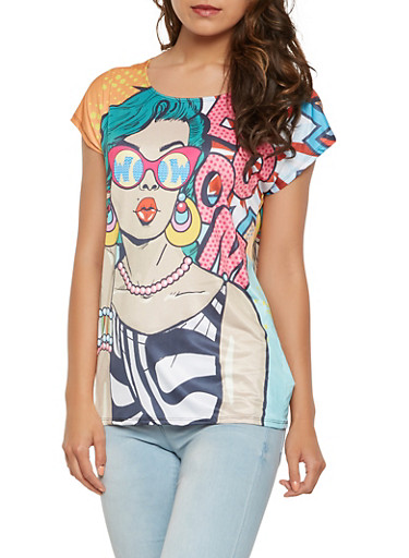 Pop Art Graphic Tee,MULTI COLOR,large