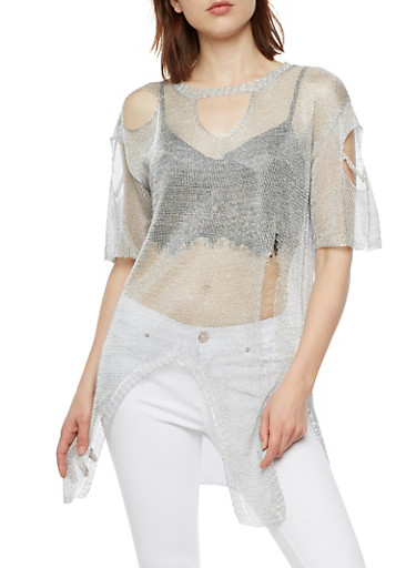 Shredded Chain Mesh Keyhole Top,SILVER,large