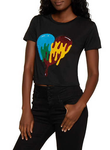 French Terry Sequin Heart Patch Tee,BLACK,large