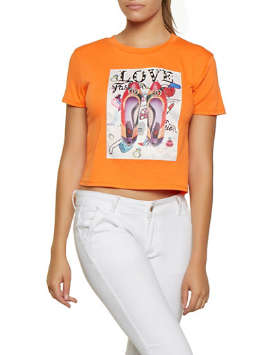 Studded Love Patch Graphic Tee,ORANGE,large