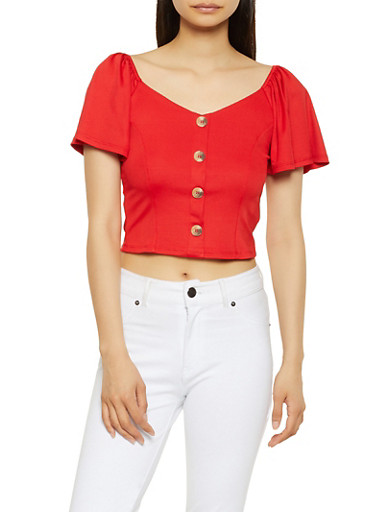 Off the Shoulder Button Front Crop Top,RED,large