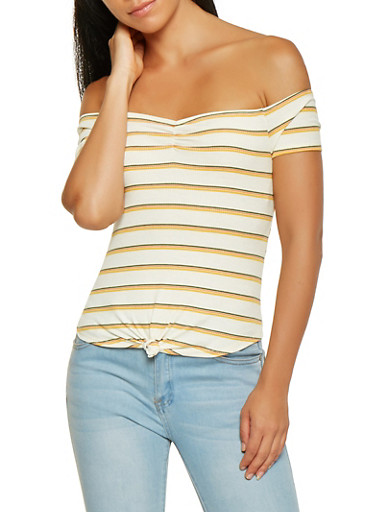 Striped Tie Front Off the Shoulder Top,YELLOW,large