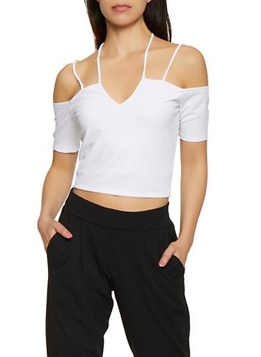 Cold Shoulder Halter Crop Top,WHITE,large