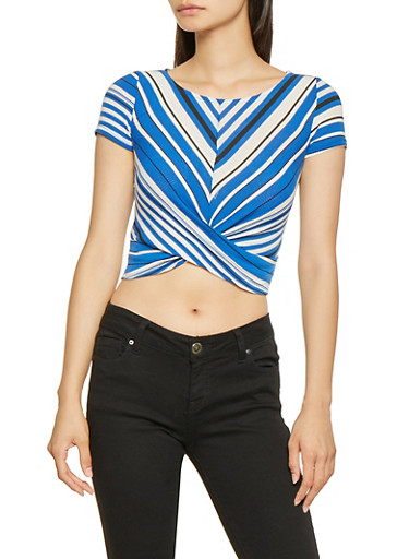 Striped Rib Knit Twist Front Crop Top,HEATHER,large