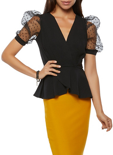 Swiss Dot Puff Sleeve Peplum Top,BLACK,large