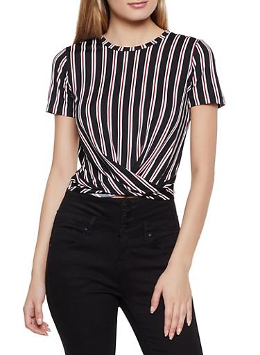 Striped Twist Front Top | 3033058753612,BLACK,large