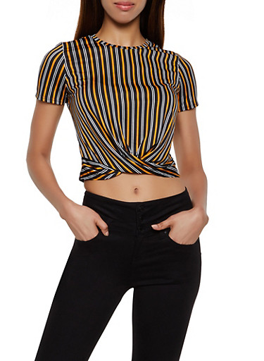 Striped Twist Front Top | 3033058757361,MUSTARD,large