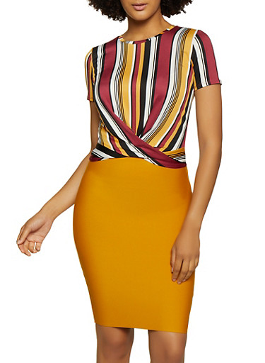 Striped Twist Front Top | 3033058757363,BLACK,large