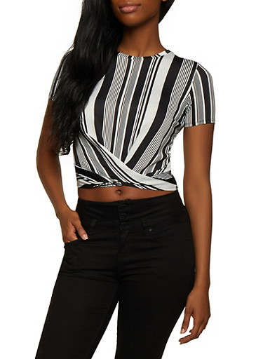 Striped Twist Front Top | 3033058757364,BLACK/WHITE,large