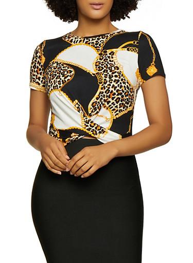 Leopard Status Print Twist Front Tee,BLACK,large