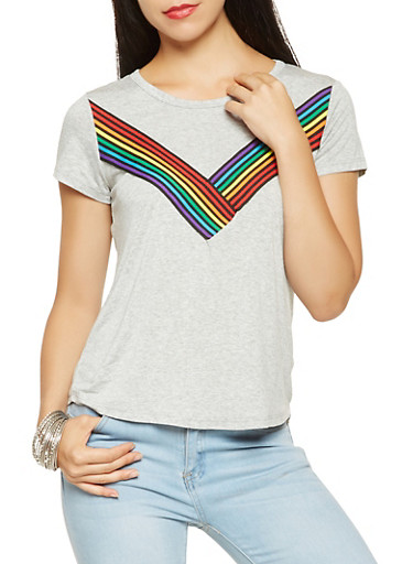 Multi Color Ribbon Detail Tee,HEATHER,large
