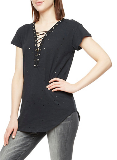 Short Sleeve Lace Up Perforated Top,BLACK,large