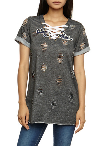 Destroyed Lace Up Tunic Top,CHARCOAL,large