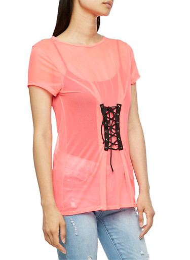 Lace Up Front Mesh T Shirt,NEON PINK,large