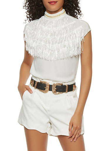 Faux Pearl Mock Neck Fringe Blouse,WHITE,large