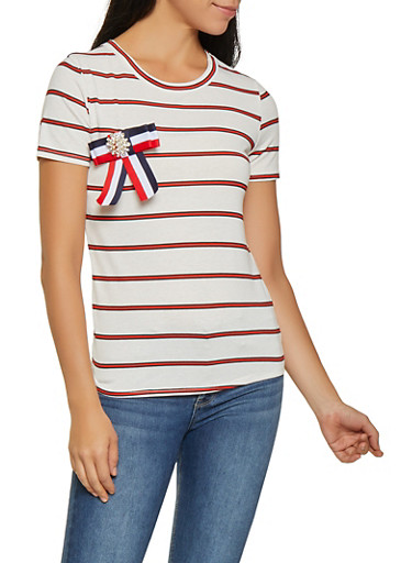 Brooch Detail Striped Tee,IVORY,large