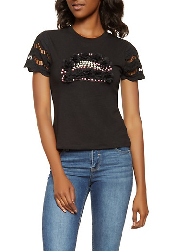 Faux Pearl Studded Tee,BLACK,large