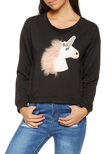Unicorn Graphic Sweatshirt,BLACK,large