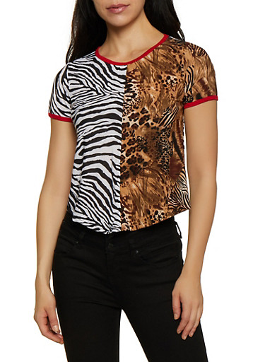 Mixed Animal Print Tee,MULTI COLOR,large