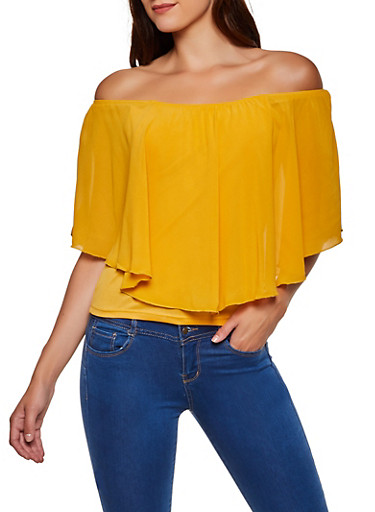 Off the Shoulder Chiffon Overlay Top,MUSTARD,large