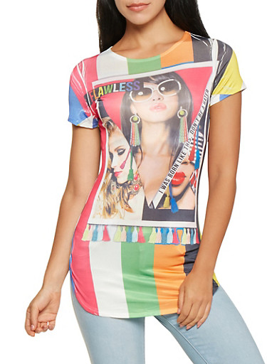 Flawless Graphic Tunic Tee,MULTI COLOR,large