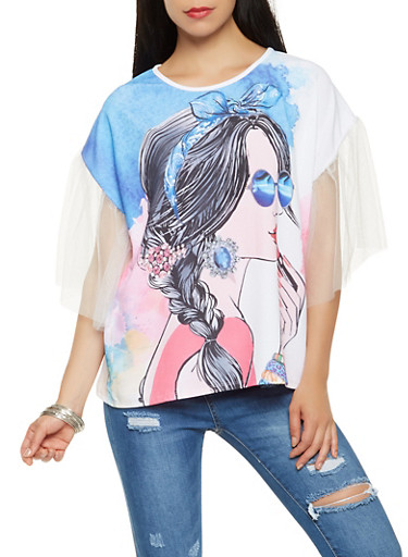 Face Graphic Mesh Sleeve Tee,MULTI COLOR,large