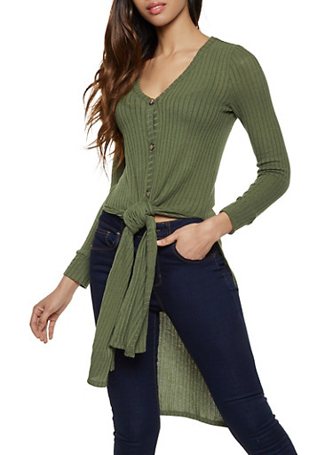Rib Knit Button Front Duster,OLIVE,large