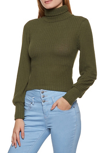 Brushed Ribbed Knit Turtleneck Sweater,OLIVE,large