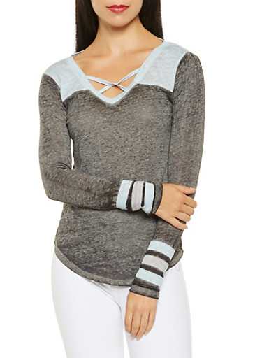 Caged Neck Tee,CHARCOAL,large