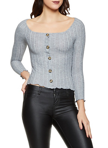 Square Neck Button Front Sweater,GRAY,large