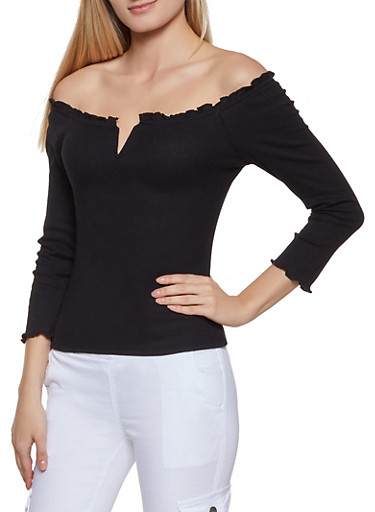 Ruffled Lettuce Edge Off the Shoulder Top,BLACK,large