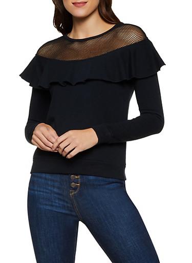 Fishnet Yoke Ruffled Sweatshirt,BLACK,large