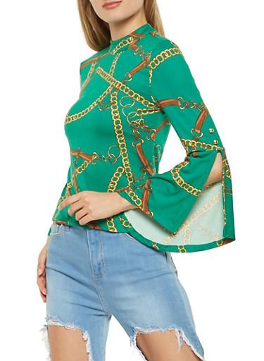 Printed Bell Sleeve Top,KELLY GREEN,large